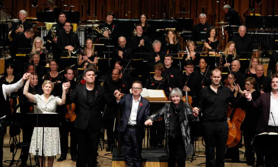 Mark Anthony Turnage, centre, with Ryan Wigglesworth, soloists and the BBCSO at the Barbican on Saturday.