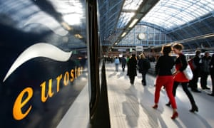 A Eurostar train at St Pancras, London, before setting off to Paris.