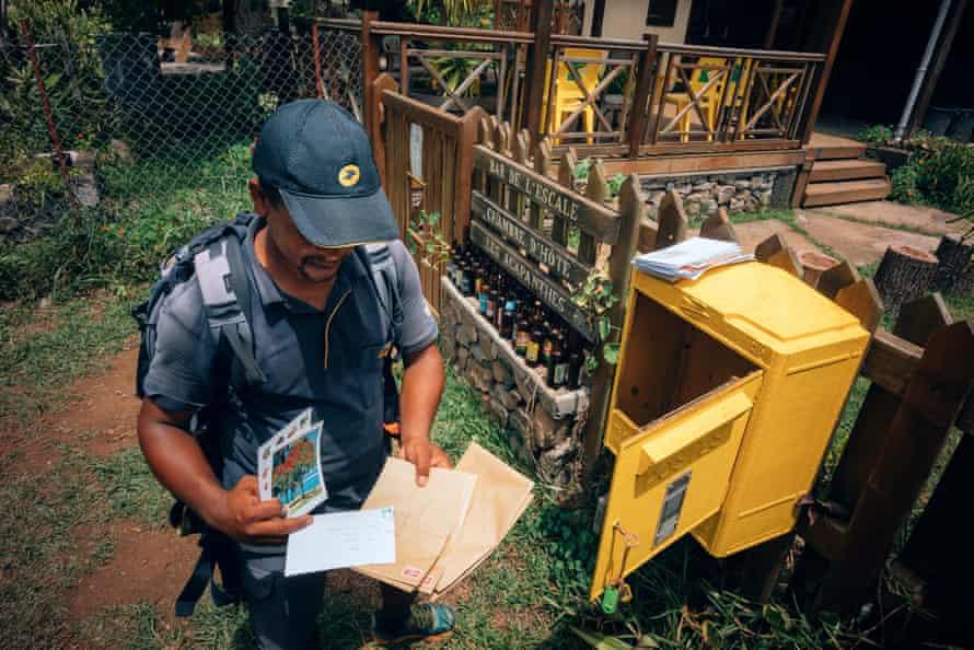 René-Claude picks up the mail in Aurère.