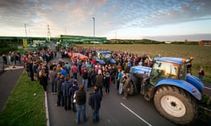 Farmers protest at the Morrisons depot in Bridgwater, Somerset.