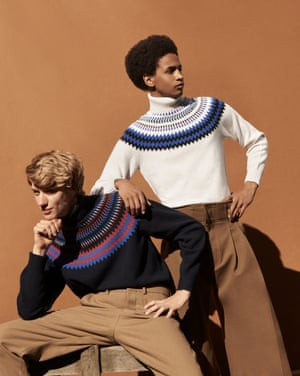 Model on left wears black red yellow blue knitted jumper, £149, albamclothing.com. brown trousers, £290, amiparis.com. Model on right wears white blue black  jumper, £149, albamclothing.com. brown trousers, £425, qasimi.com.