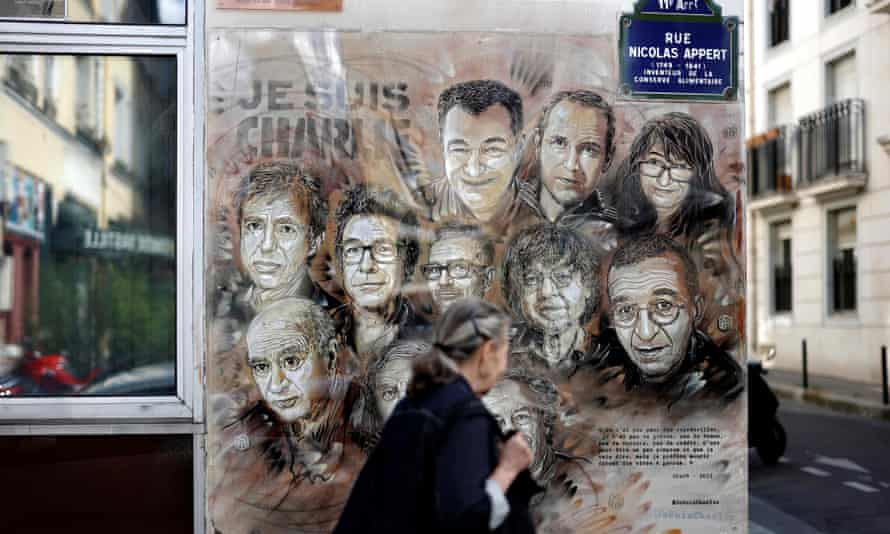 A street painting pays tribute to members of the Charlie Hebdo newspaper who were killed by gunmen in January 2015.