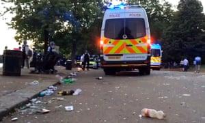 A screengrab of police vans at Hyde Park
