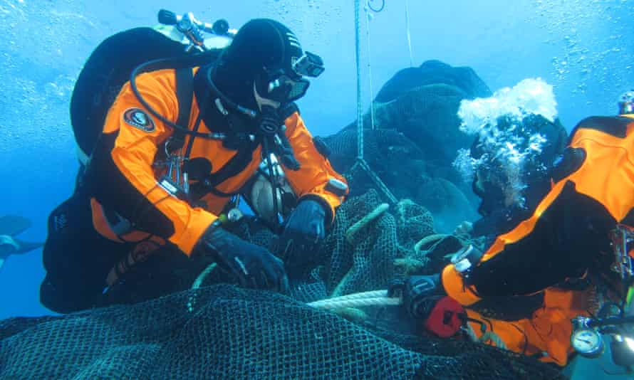 A fishing net recovery mission off the Aeolian islands.