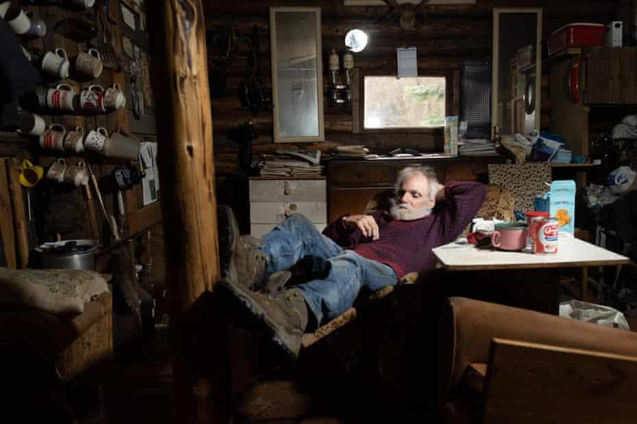 Ken relaxing in his cabin