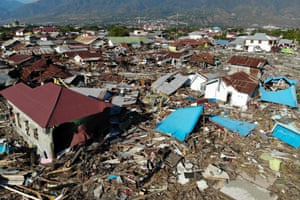 An aerial view shows the earthquake and tsunami devasted neighbourhood in Palu.