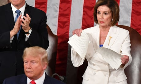 Nancy Pelosi rips up copy of Trump's State of the Union speech following divisive address – as it happened