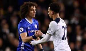 Tottenham's Dele Alli shakes hands with Chelsea's David Luiz as he is substituted.