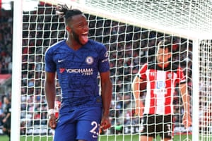 Chelsea's Michy Batshuayi celebrates scoring their fourth goal at at St Mary's Stadium, beating Southampton 4-1. Chelsea have scored three or more goals in three consecutive Premier League away games for the first time since August 2009.