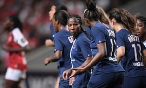 PSG's Formiga celebrates after scoring a goal against Braga in the Women's Champions League.