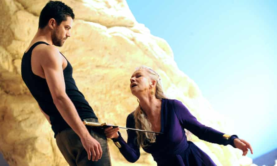 Helen Mirren and Dominic Cooper in a performance of Phèdre, which was made available on the National Theatre at Home service.
