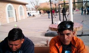Jonathan, right, a 19-year-old Honduran and Rodrigo, a 26-year-old Guatemalan find temporary refuge at Casa del Migrante.