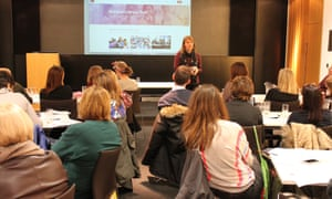 Fiona Evans celebrates 25 years of the National Literacy Trust at the Guardian Education Centre Reading for pleasure conference 5 March 2018.