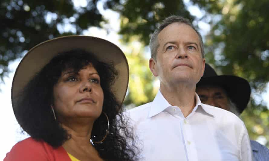 Northern Territory senator Malarndirri McCarthy and Bill Shorten on the election campaign trail in Darwin. Labor promises to enshrine an Indigenous voice to parliament in the Constitution