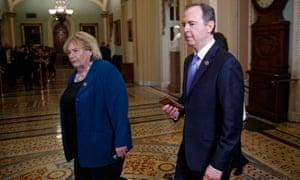 House impeachment managers Adam Schiff (R) and Zoe Lofgren (L).