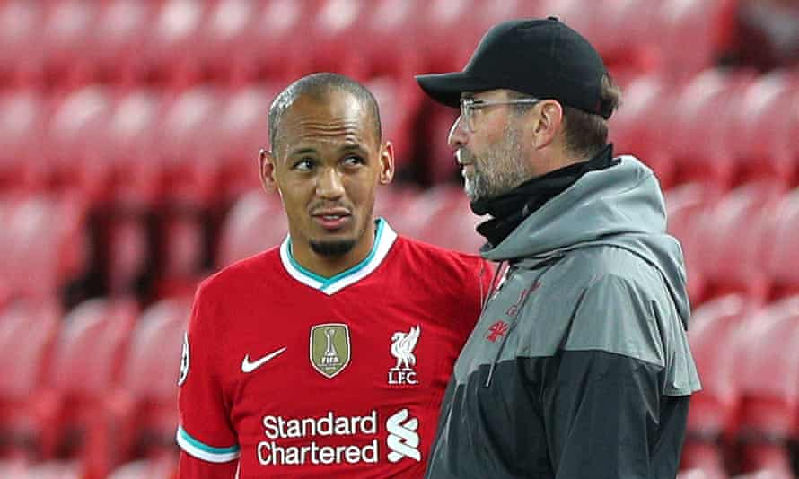 Fabinho and Jurgen Klopp