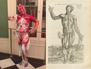 Adrianna Link, PhD Candidate at Johns Hopkins, in costume as one of Vesalius's anatomical illustrations, next to an illustration from De humani corporis fabrica libri septem by Vesalius, 1543