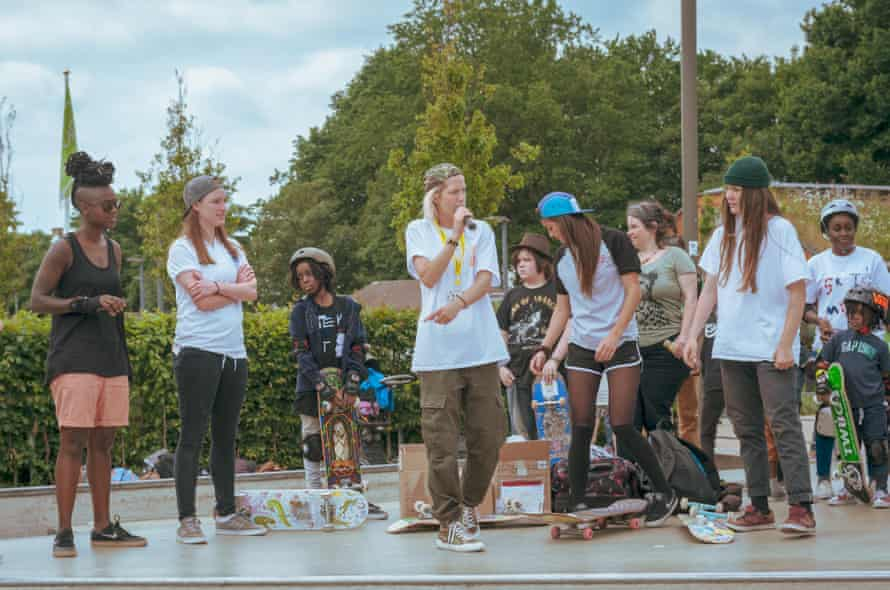 Lucy Adams, centre, teaches girls to skate at the Level Skatepark in Brighton