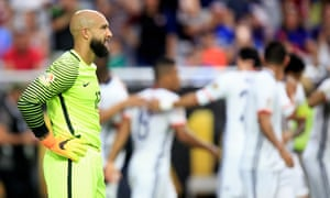 Tim Howard reacts after conceding his goal.