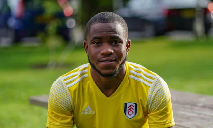 Ademola Lookman is unveiled at Fulham's training ground.