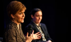 The SNP's local candidate, Mhairi Black, alongside its leader, Nicola Sturgeon, in Johnstone, in Renfrewshire.