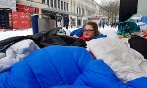 A rough sleeper in Broadmead, Bristol.