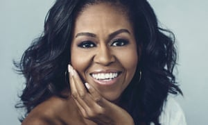 Former first lady Michelle Obama on the front cover of her autobiography, Becoming.