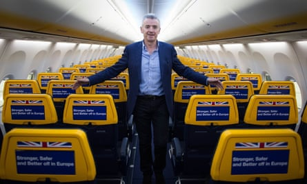 Michael O'Leary of Ryanair aboard one of his planes