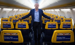 Ryanair chief executive Michael O'Leary inside an empty Ryanair cabin