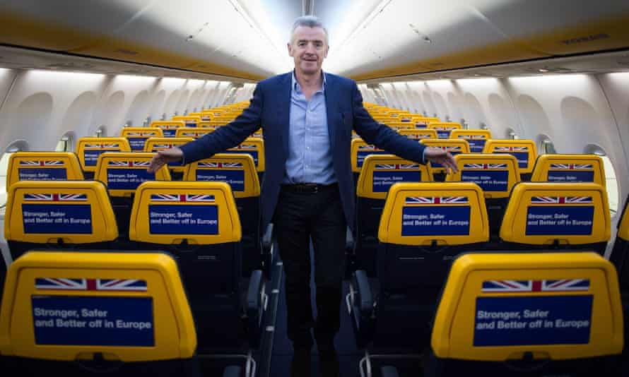 Ryanair chief executive Michael O'Leary inside an empty Ryanair cabin