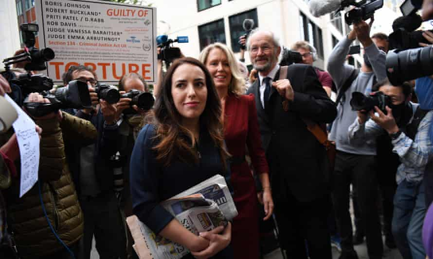 Stella Moris, lawyer Jennifer Robinson and Assange's father at the Old Bailey