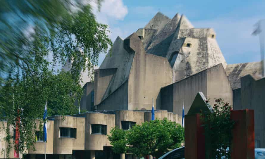 The Neviges pilgrimage church designed by Gottfried Böhm. He oversaw every detail, from the chairs and door handles to the colourful stained glass panels, all suffused with the same angular expressionist energy.
