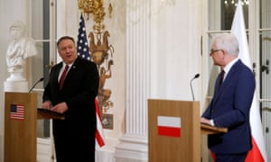 US secretary of state Mike Pompeo with Polish foreign minister Jacek Czaputowicz in Warsaw this week.
