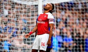 Pierre-Emerick Aubameyang reacts after missing an open goal. Less than a minute later Chelsea were 2-0 up.