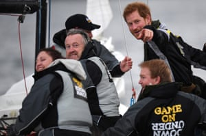 Prince Harry chats with sailors during a demonstration on Sydney harbour