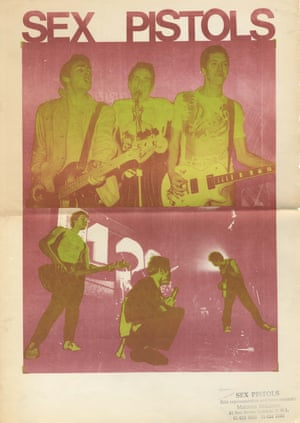 April 1976. Sex Pistols poster designed by Jamie Reid. One of the earliest promotional posters for the band, circulated by Malcolm McClaren in press kits prior to the band being signed by EMI