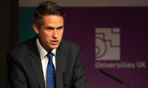 The education secretary, Gavin Williamson, addressed the Universities UK Conference in Birmingham on Wednesday.