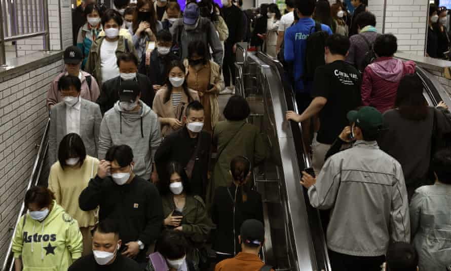 Commuters in Seoul, South Korea