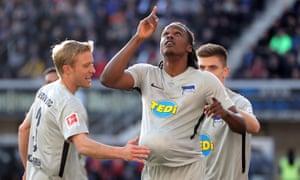 Dedryck Boyata celebrates after scoring the opening goal for Hertha Berlin at Paderborn.