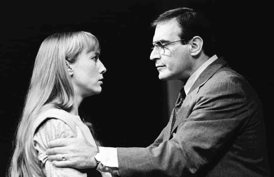 Lia Williams and David Suchet in the London premiere of Oleanna, directed by Harold Pinter, at the Royal Court in 1993.