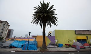 Tents line the sidewalk in San Diego California, a city that is experiencing a grave homelessness crisis.