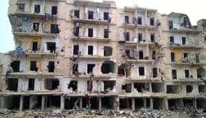 Aleppo, Syria: War-torn buldings in an eastern part of Aleppo