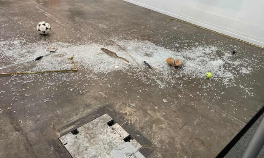 Art work of Gabriel Rico on display at Mexico's premiere art fair Zona Maco after it was shattered.