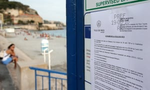 The bylaw forbidding the wearing of burkinis at the beach in Nice.