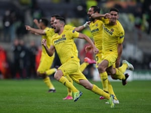 Villarreal players celebrate after winning the Europa League.