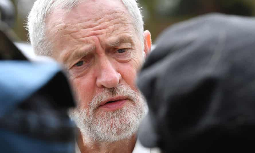 Jeremy Corbyn doing interviews while campaigning for West Drayton, London.