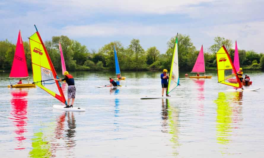 Windsurfers before the pandemic at South Cerney Outdoor Education Centre, Gloucestershire.