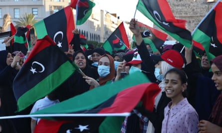 Libyans with flags