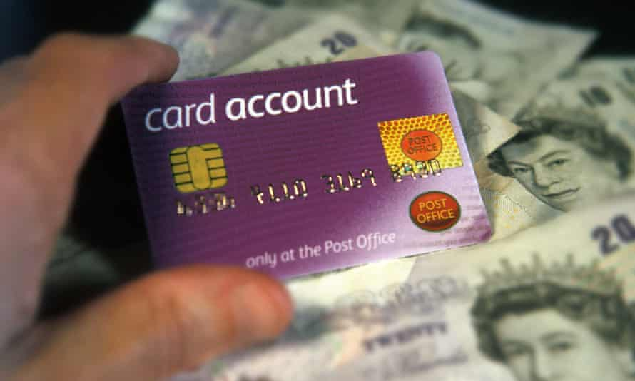 UK banknotes and Post Office account card used for collecting state pension and benefits