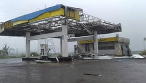 A petrol station destroyed by cyclone Fani on the outskirts of Puri